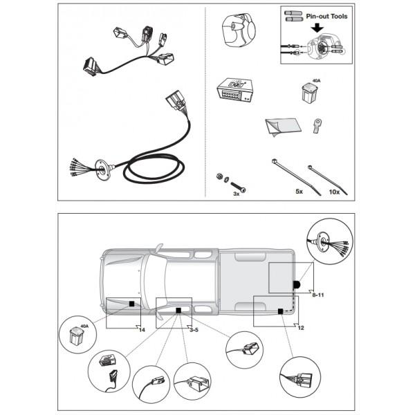 faisceau specifique 7 broches pour ford ranger 14779. Black Bedroom Furniture Sets. Home Design Ideas
