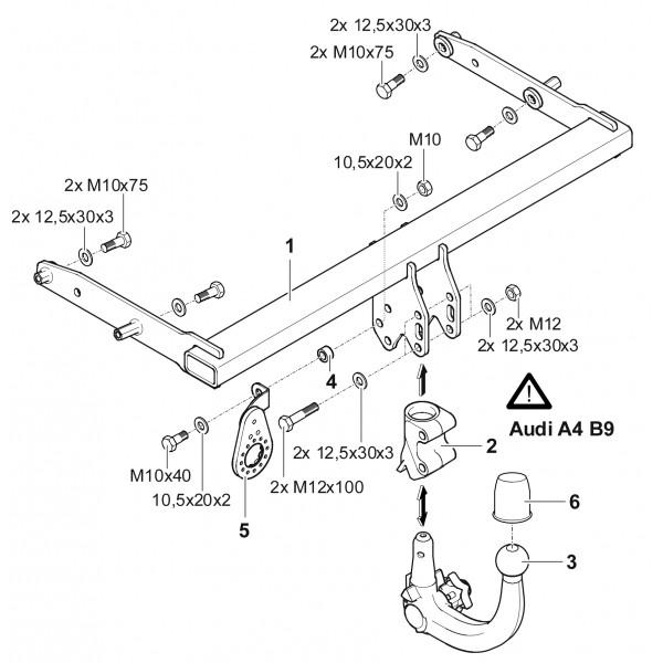 attelage audi a4 b9 break rdsov 22148. Black Bedroom Furniture Sets. Home Design Ideas