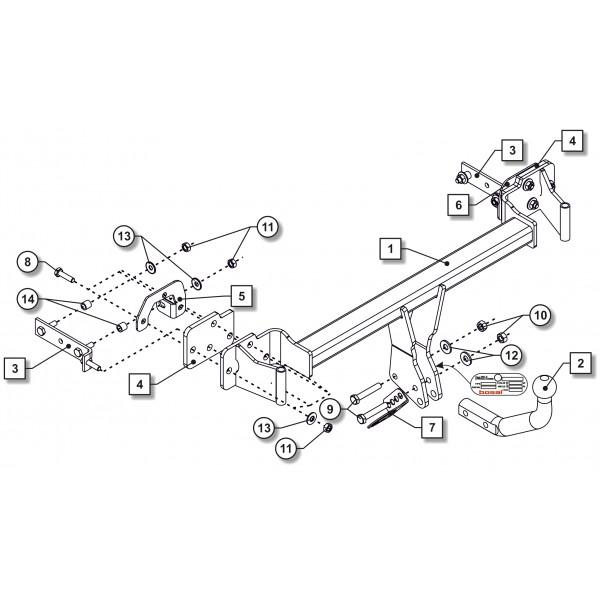Attelage D/émontable avec 13broches C2 Kit pour 308 Break 2007-2013 UT290COR44ZCM//WU403FR1