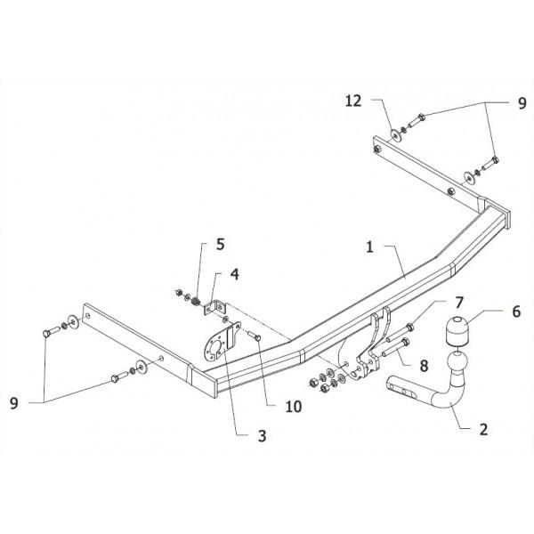 attelage volkswagen golf 6 break col de cygne 6598. Black Bedroom Furniture Sets. Home Design Ideas